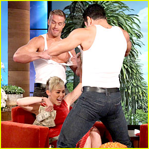 Miley Cyrus Gets Lap Dance at 'Ellen' Bachelorette Party!