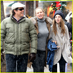 Uma Thurman &#038; Arpad Busson: Snowy Aspen Stroll with Maya!
