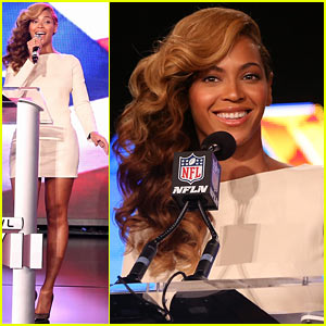 Beyonce: National Anthem Live at Super Bowl Press Conference! (Video)