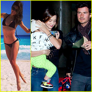 Miranda Kerr & Orlando Bloom Leave Cancun for L.A.!