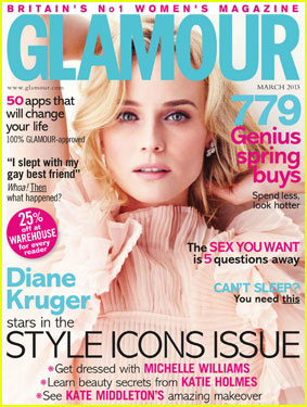Diane Kruger Covers 'Glamour UK' Magazine March 2013