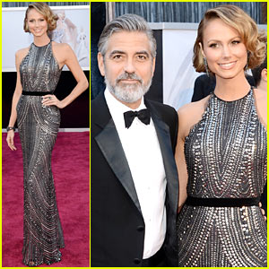 George Clooney - Oscars 2013 Red Carpet with Stacy Keibler