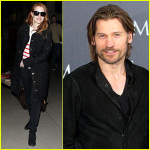 Jessica Chastain Lands at LAX, Nikolaj Coster-Waldau Promotes 'Mama'