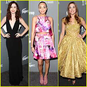 Lily Collins & Ashley Madekwe - Costume Designers Guild Awards 2013 Red Carpet