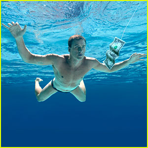 Lochte poses as the baby on Nirvana 's classic Nevermind album cover ...
