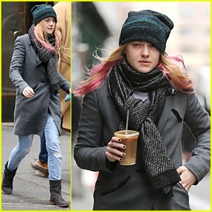 Dakota Fanning: Pink Hair Rockin' Coffee Stop!