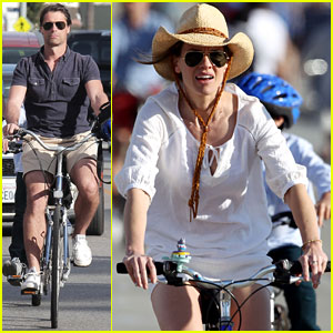 Hilary Swank & Laurent Fleury: Bike Riding Duo!