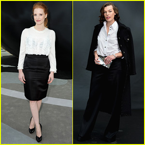 Jessica Chastain & Milla Jovovich: Chanel Fashion Show!