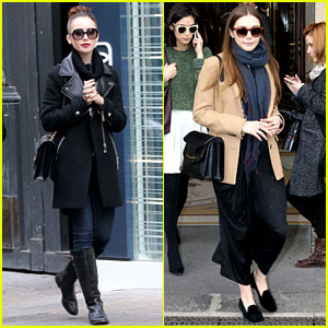 Lily Collins & Elizabeth Olsen: Paris Fashion Week Fun!