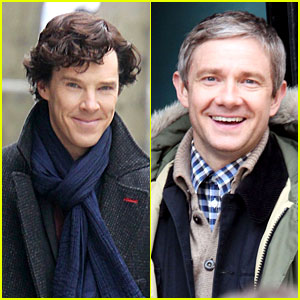 Benedict Cumberbatch: 'Sherlock' Set with Martin Freeman!