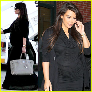Pregnant Kim Kardashian Lands in Greece with
