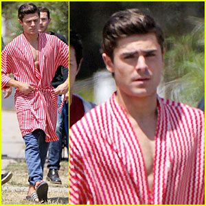 Zac Efron: Striped Robe on 'Townies' Set!