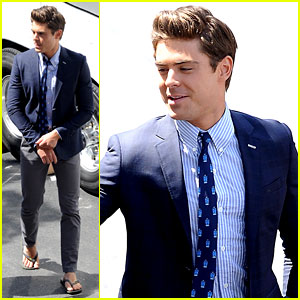 Zac Efron: Suit & Flip Flops on 'Townies' Set!