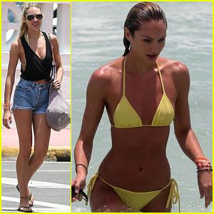 Candice Swanepoel: Yellow Beach Bikini Babe