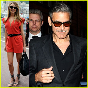 George Clooney Dines in London, Stacy Keibler Hits Grand Prix!