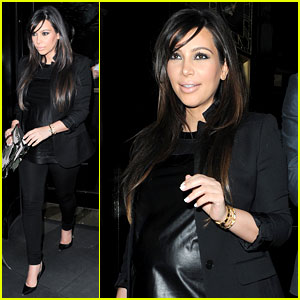 Kim Kardashian: Pregnant Leather Lady at Beyonce Concert!