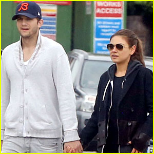Mila Kunis & Ashton Kutcher Hold Hands on London Stroll