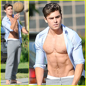 Zac Efron: Shirtless Abs Flashing on 'Townies' Basketball Set!