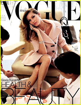 Gisele Bundchen: Pedicure & Facial for 'Vogue Italia' Covers!