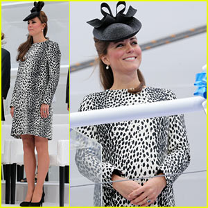 Pregnant Kate Middleton: Baby Bump at Ship Naming Ceremony