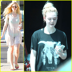 Elle Fanning Shows Bright Bikini in Sheer Dress!