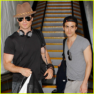 Ian Somerhalder & Paul Wesley Land at LAX Together!