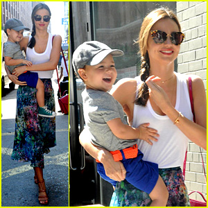 Miranda Kerr Drops By Milk Studios with Flynn
