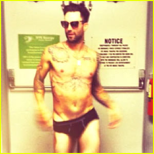 Adam Levine Goes Nearly Naked for Fiancée Behati Prinsloo