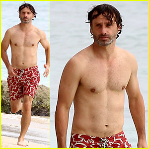 Andrew Lincoln Goes Shirtless for Caribbean Family Vacation!