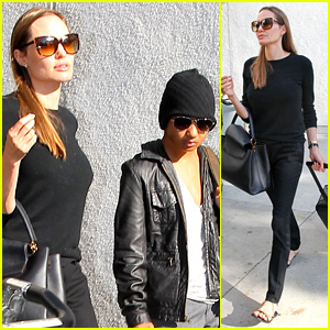 Angelina Jolie Lands in Los Angeles with Maddox