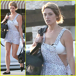 Ashley Greene Shows White Bra with Overalls!