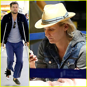 Joshua Jackson Crutches to LAX Airport with Diane Kruger!
