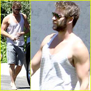 Liam Hemsworth Bares Buff Biceps in Tank Top & Goes Barefoot