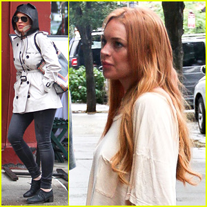 Lindsay Lohan Bundles Up on Rainy Day in New York City