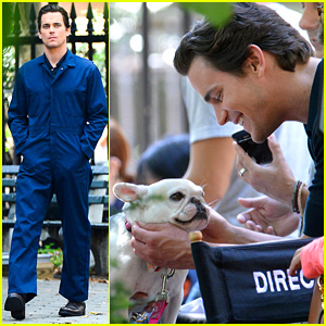 Matt Bomer seen in New York on the set of White Collar wearing a blue coverall