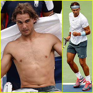 Rafael Nadal: Shirtless First Round Win at the U.S. Open!