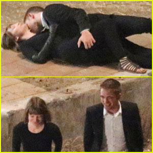 Robert Pattinson Passionately Kisses Mia Wasikowska for 'Maps...'