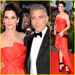 and Sandra Bullock look stunning at the premiere of their film Gravity