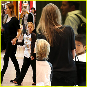 Angelina Jolie Catches a Flight with Shiloh & Pax!