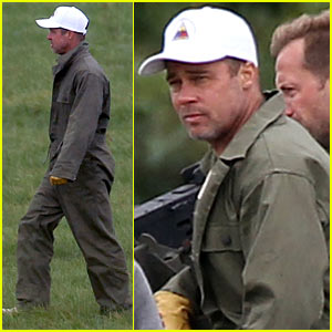 Brad Pitt Shows Off Short Haircut on 'Fury' Set
