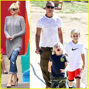 Gwen Stefani & Possible Baby Bump Drop Off the Boys!