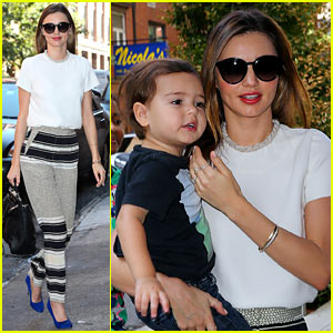 Miranda Kerr & Flynn Wear Matching Blue Shoes!