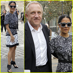 Salma Hayek: Balenciaga Paris Fashion Show!