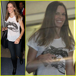Hilary Swank Jets Out of Los Angeles