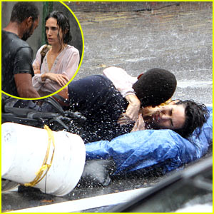 Jennifer Connelly Braves Rain for 'Shelter' Stunt Work!