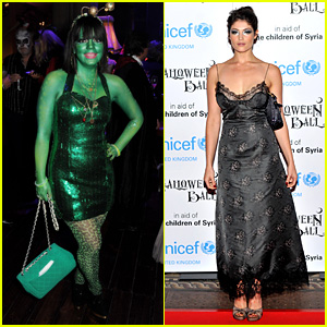 Lily Allen Paints Body Green for UNICEF's Halloween Ball 2013