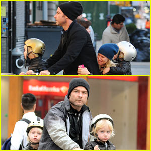 Liev Schreiber, Naomi Watts, & Two Sons All Ride On Same Bike!