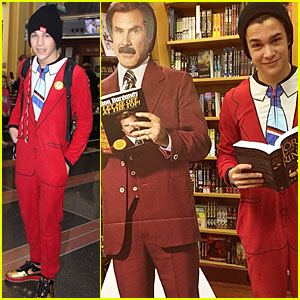 Austin Mahone Sports 'Anchorman' Ron Burgundy Fake Suit!