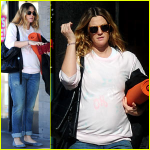 Drew Barrymore: Pregnant Yoga Session!