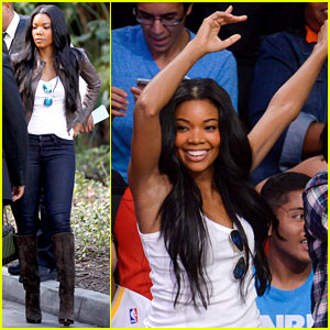 Gabrielle Union And Dwyane Wade Championship 2013 Gabrielle Union Cheers on